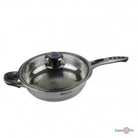 Сковорода з нержавіючої сталі Supretto - сковорідка з кришкою і термодатчиком, 24 см