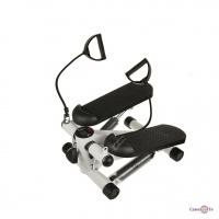 Домашний тренажер степпер для ног с эспандерами Mini Stepper Чёрно-белый