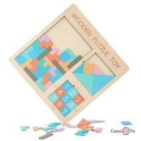 Дерев'яна головоломка Wooden Puzzle Toy 3в1 пазл, п'ятнашки, танграм