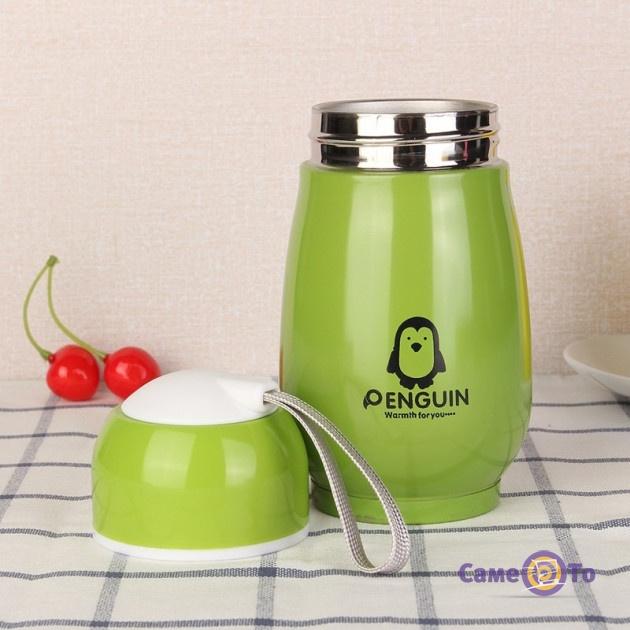 """Детский термос для чая """"Пингвин"""" - кружка термос для детей в школу"""