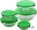 Набір харчових контейнерів для їжі, 5 шт. із зеленою кришкою, скляні судочки