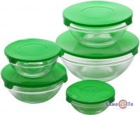 Набір харчових контейнерів для їжі (5 шт./уп.) із зеленою кришкою, скляні судочки