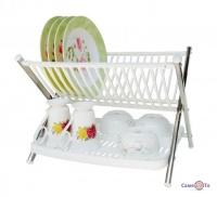 Складная двухъярусная сушилка для посуды настольная Folding Rack Kitchen
