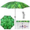 Зонт пляжный с наклоном - большой зонтик на пляж с пальмовыми листьями, 2 м