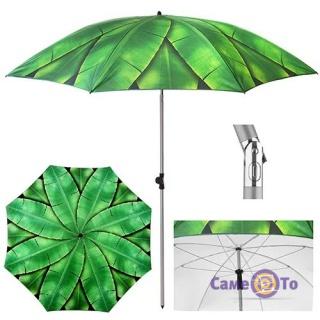 Парасоля від сонця з нахилом - велика пляжна парасолька з пальмовим листям, 2 м