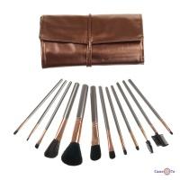 Набір пензлів для макіяжу обличчя, очей і брів з 12 штук в бронзовому чохлі