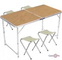 Раскладной стол чемодан для пикника Folding table + 4 стула (светлое дерево)