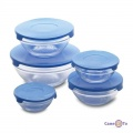 Набор пищевых контейнеров, 5 шт. с голубой крышкой, стеклянные пищевые ланч боксы