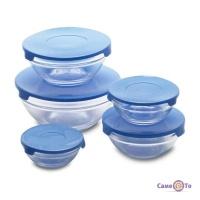 Скляні судочки, набір з 5 шт. з блакитною кришкою, харчові ланч бокси