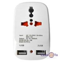 Мережевий розгалужувач з ЮСБ Travel Adaptor 823