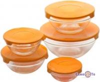 Набір скляних харчових контейнерів для їжі, 5 шт. з помаранчевою кришкою, бокси для їжі