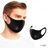 Чорна захисна медична маска упаковка 12 шт. з тканини з клапаном Fashion Mask