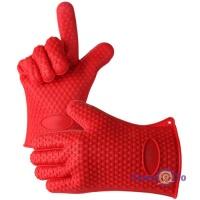 Силіконові рукавиці термостійкі Нot hands, кухонні рукавички для духовки Червоні
