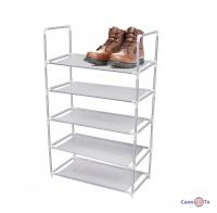 Поличка для взуття на 5 ярусів сіра, 88х56 см
