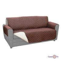 Покривало на диван стьобане Біло-Коричневе 173x280 см | плєд покривало двостороннє