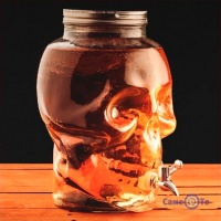Скляний бутель у вигляді черепа з краном для вина і лимонаду, 5 л