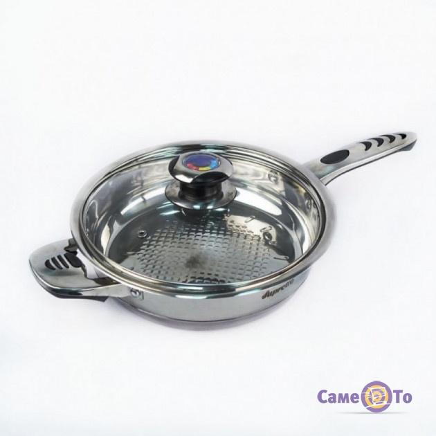 Сковорода из нержавеющей стали Supretto с крышкой и термодатчиком, 24 см