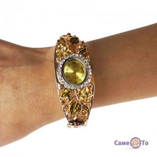 Женские наручные часы - кварцевые часы, с цветочным орнаментом