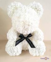 Подарунковий ведмедик з білих 3d троянд, 24 см