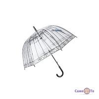 Прозрачный зонт Попугай - зонт трость от дождя, купольный