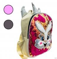 Рюкзак з LED підсвіткою, аплікацією зайчика і паєтками для дівчаток