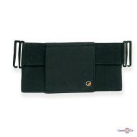 Чорна еластична сумка на пояс для документів, текстильна сумочка на ремінь чоловіча, жіноча