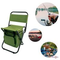 Стілець розкладний туристичний і для пікніка зі спинкою та термрсумкою 58х35 см, стільчик розкладний зелений