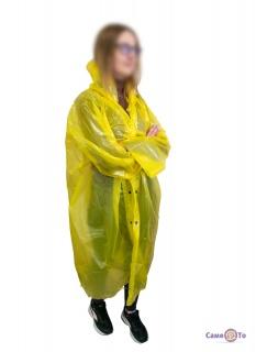 Дощовик для дорослих на кнопках 60мкм жовтий 105х72 см
