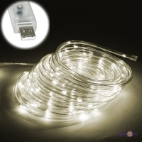 Вулична гірлянда новорічна (теплий білий, дюралайт, 100 LED 9 м, прозора, від USB)