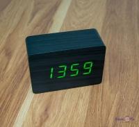 Дерев'яний  лед годинник ET 009 чорний