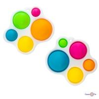 Сенсорна іграшка Pop it Сімпл Дімпл на 5 бульбашок, брелок різнокольоровий Simple dimple