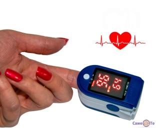 Пульсоксиметр на палець LK87 для вимірювання пульсу і кисню в крові (червоний екран)