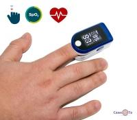 Пульсоксіметр на палець Fingertip Чорно-білий для вимірювання кисню в крові