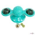 Інтерактивна іграшка для котів з кульками та м'ятою Rotate windmill cat toy бірюзова