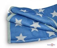 Електрична ковдра з підігрівом 170х150 см. синє з білими зірками