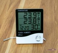Електронний гігрометр з годинником HTC-2