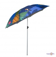 Парасоля пляжна складана з ананасами - велика парасолька від сонця з нахилом, 2 м