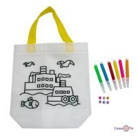 Сумка розмальовка для дітей 24х10х22 см з принтом кораблика (Z10)