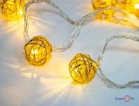 Новорічна гірлянда Xmas Golden Ball WW-1 2м 10 LED ламп (дротяні кульки)