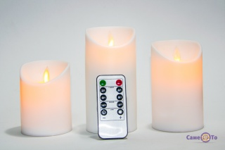 Cветодиодные свечи на батарейках - электронные лед свечи, 3 шт.  (BJ 541-R)