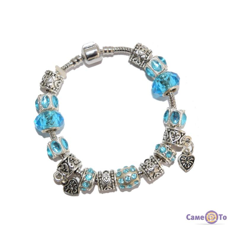 Браслет в стиле Пандора Pandora в голубом цвете