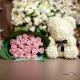 Штучний ведмедик з фоаміранових 3д троянд 38 см