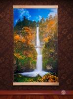 Тонкий настенный обогреватель картина Водопад с мостиком, Трио, 400 W