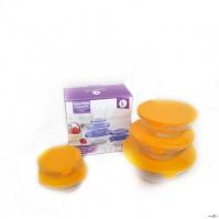 Пищевые контейнеры для еды, 5 шт. с оранжевой крышкой, набор стеклянных судочков