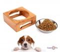 Миска нержавейка для корму котів, собак з бамбуковою підставкою