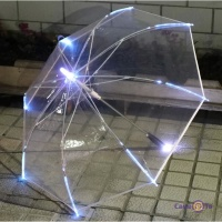 Прозрачный зонт трость с фонариком и подсветкой LED Umbrella