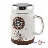 Кружка Starbucks - чашка для кави Старбакс, з металічною кришкою