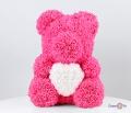 Рожевий ведмедик з троянд фоаміраних 37 см