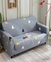 Универсальная накидка для кресла или дивана (серая в треугольниках) 90-140 см