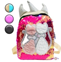 Дитячий рюкзак з LED підсвіткою, котиками і паєтками